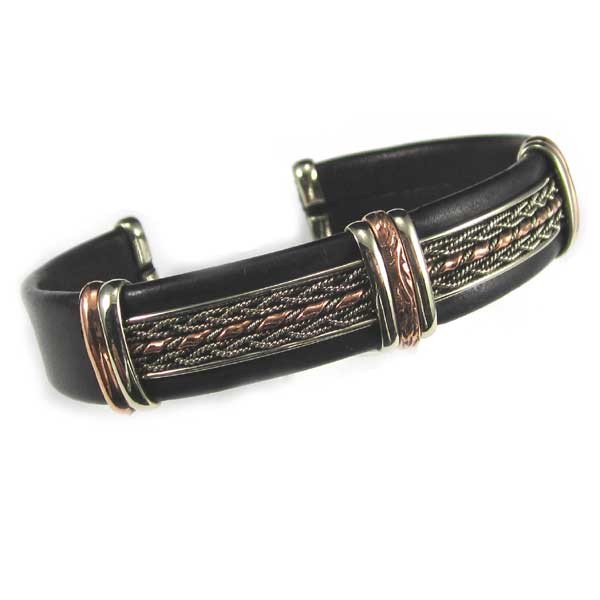 HPSilver, LLC : Unique Leather Bracelet (ULB-BR-202) Large Black w/ Copper