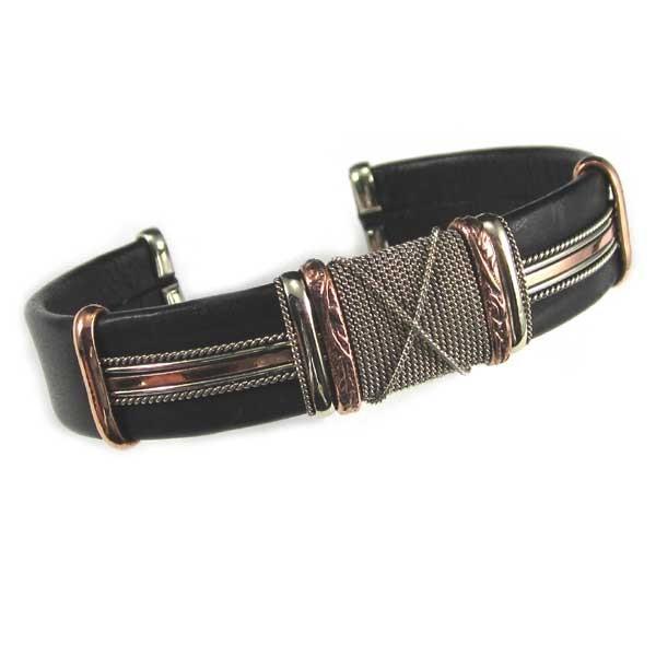 HPSilver, LLC : Unique Leather Bracelet (ULB-BR-204) Large Black w/ Copper