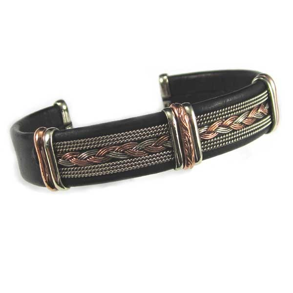 HPSilver, LLC : Unique Leather Bracelet (ULB-BR-205) Large Black w/ Copper