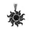 "Sterling Silver w/ Amethyst ""Sun"" Pendant (ANG-PN-104) Flower"