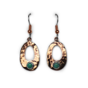 Hammered Copper w/ Turquoise Earrings (CPR-ER-001)  Oval