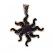 """HPSilver, LLC : Sterling Silver w/ Amethyst and Copper """"Sun"""" Pendant (ANG-PN-102) Compass"""