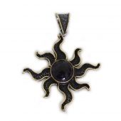 """HPSilver, LLC : Sterling Silver w/ Amethyst and Brass """"Sun"""" Pendant (ANG-PN-103) Compass"""