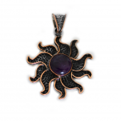 "HPSilver, LLC : Sterling Silver w/ Amethyst and Copper ""Sun"" Pendant (ANG-PN-105) Flower"