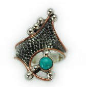 "HPSilver: Kingman Turquoise w/ Sterling Silver ""Crown"" Ring (elf-rg-017)"