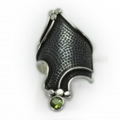 "HPSilver: Peridot w/ Sterling Silver ""Dragon"" Ring (elf-rg-020)"