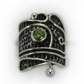 "HPSilver: Peridot w/ Sterling Silver ""Palette"" Ring (elf-rg-023)"