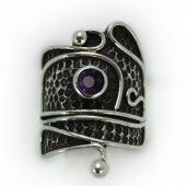 "HPSilver: Amethys w/ Sterling Silver ""Palette"" Ring (elf-rg-025)"