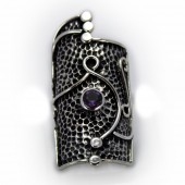 "HPSilver: Amethyst w/ Sterling Silver ""Shield"" Ring (elf-rg-034)"