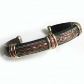 HPSilver, LLC : Unique Leather Bracelet (ulb-br-105) Black w/ Copper