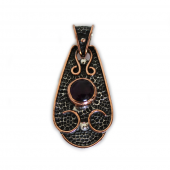 """Sterling Silver w/ Amethyst and Copper """"Saddle"""" Pendant (VIC-PN-105) Round"""