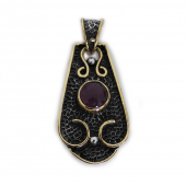 "HPSilver, LLC : Sterling Silver w/ Amethyst and Brass ""Saddle"" Pendant (VIC-PN-106) Round"